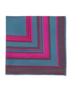 Massimo Bizzocchi Striped Pocket Square, Fuchsia/Teal
