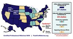 States where it is legal to choose the birth provider of YOUR choice are dark blue - states where the government dictates who you can choose are the brownish ones!
