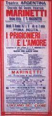 Teatro Argentina. Locandina per lo spettacolo I prigionieri e l'amore, 20 dicembre 1927. E' annunciata la rappresentazione de L'oceano del cuore per il 22 Dicembre.