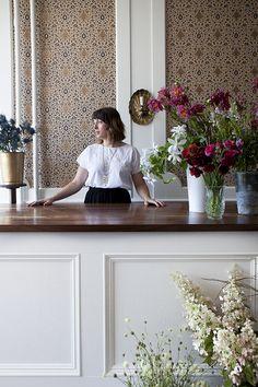 Hops petunia: a budding new floral shop in kingston, ny Flower Shop Interiors, Modern Reception Desk, Design Food, Flower Studio, Display Design, Petunias, Restaurant Design, Nyc, Kingston