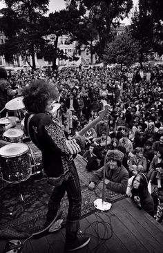 Jimi Hendrix performing onstage at a free concert in the Panhandle, June 19, 1967. Jim Marshall