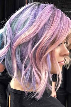 Wavy A line Lob With Pastel Highlights #purplehighlights #highlights #haircolor #wavyhair #longbob ❤️See what a deep and bright look you can get with purple highlights! Purple balayage, blue ombre, and many cool hair color ideas are here! ❤️ See more: http://lovehairstyles.com/purple-highlights-unique-hair-look/ #lovehairstyles #hair #hairstyles #haircuts