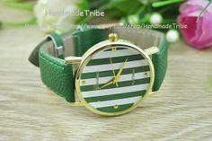 Stripe Watch Green Leather Bracelet Vintage Style by HandmadeTribe, $5.99 Personalized fashion elegant leather watch,best friend gifts.
