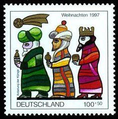 Vokietijos pašto ženklas, kuriame vaizduojami Trys Karaliai