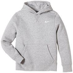 Nike Brushed Sweat-shirt à capuche Garçon Dark Grey Heather/White FR : M (Taille Fabricant : M)
