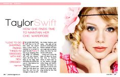 The colors in this spread clearly appeal to Taylor Swift's young female fans, and the contrast with black prevents it from being overwhelmingly bright. The alignment of the top of the pull quote with the top of the body text encourages the reader to move directly from the brighter, more flashy pull quote into the body text. The colors are also distributed very evenly across the page, giving it a cleaner, more polished appearance.