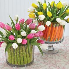 asparagus and carrots holding up tulips