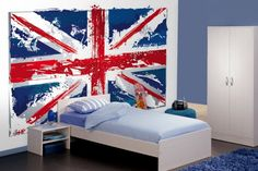 Teenage Bedroom Ideas with National Flag Wall Mural