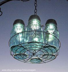 6 Mason Jar Solar Lights Chandelier by TreasureAgain by TreasureAgain, via Flickr