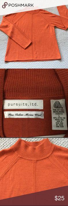 100% Merino Wool Orange Sweater Pursuits, Ltd Super soft 100% Italian Merino Wool mock-neck rusty orange sweater, by Pursuits, Ltd.  It has a center vertical line in the front and back. Vintage Sweaters Cowl & Turtlenecks