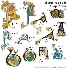 Celtic Illuminated Manuscripts - Book of Kells Letters, 160 illuminated Irish Celtic initials letters hand drawn in vector format eps Celtic Fonts, Celtic Art, Irish Celtic, Irish Sea, Celtic Dragon, Medieval Font, Medieval Manuscript, How To Write Calligraphy, Calligraphy Art