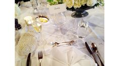 The all-white table setting.