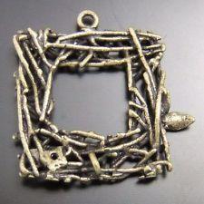 02608 Antique style bronze alloy square bird's nest pendants charms 10pcs