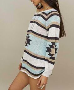 Navajo prints!!! Love tribal & wearing Oversized sweaters w/some slouchy boots.   Cook dinner for your man looking cute!!