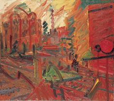 Frank Helmut Auerbach (British, b. 1931): Camden Theatre In The Rain, 1977. Oil on board, 122 x 137 cm (48 x 54 inches). Private Collection. © Frank Auerbach. This artwork or photograph is posted in accordance with fair use principles.  #IRequireArt @irequireart #art #FrankAuerbach
