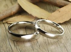 Handmade Dome Plain Matching Wedding Bands, Couple Rings Set, Titanium Rings Set, Anniversary Rings Set