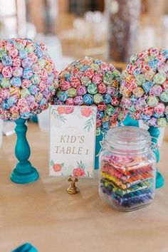 KIDS TABLE - Colorful wedding at The Cedar Room by A Charleston Bride wedding fall ideas / april wedding / wedding color pallets / fall wedding schemes / fall wedding colors november Kids Table Wedding, Wedding With Kids, Fall Wedding Table Decor, Diy Reception Decorations, Wedding Table Themes, Wedding Simple, Trendy Wedding, Wedding Tips, Dream Wedding