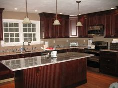 Wood Kitchen Cabinet Ideas dark brown cabinets, granite counters, and backsplash- exactly