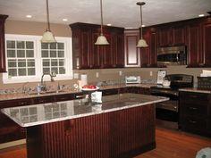 Kitchen Ideas Cherry Cabinets cherry cabinets, cambria quartz counters with some dark flecks