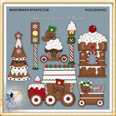 Tren expreso de imágenes prediseñadas de Navidad, vacaciones pan de jengibre galletas dulces