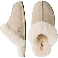 Ugg Scuffette Ii Suede Slipper ($62) ❤ liked on Polyvore featuring shoes, slippers, pajamas and sand