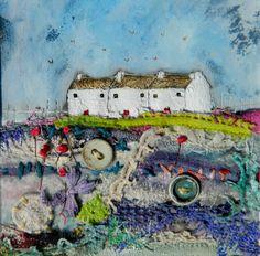 'Garden lane cottages'  by Louise O'Hara of DrawntoStitch www.drawntostitch.com