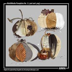 Oscraps :: Shop by Designer :: Anna Aspnes Designs :: MultiMedia Pumpkins No. 1