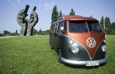 VW bus Kombi black and orange