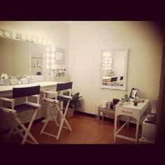 "Love the ""chairs/lighting"" for my future salons make up station!"
