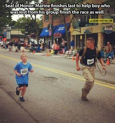 After seeing this kid get left behind, this marine stayed with him all the way to the finish... even letting him finish ahead of him so he wouldn't be last :)
