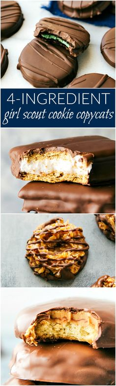 A collection of four different and simple Girl Scout Cookie copycats all with 4-ingredients OR less! Thin Mints, S'mores Sandwich Cookies, S'amoas, and Tagalongs! via chelseasmessyapron.com