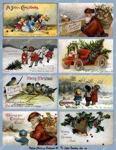 Vintage Christmas Post Cards No. 5 Digital Collage Sheet
