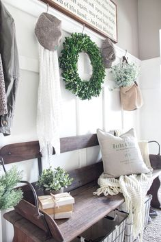 Eye For Design: Create Authentic Farmhouse Style Mudrooms~~~~I just LOVE the boxwood wreath.  Got mine for decorsteals.com LOVE IT!!!!
