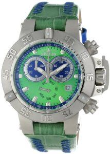 Invicta Women's 11637 Subaqua Chronograph Green Dial Green Leather Watch Invicta. $249.99. Chronograph functions with 60 second and 30 minute blue subdials and day of the week silver green subdial with silver tone border; date window at 4:00. Swiss quartz movement. Flame-fusion crystal; stainless steel case; green leather strap with blue stitching and blue loops. Water-resistant to 500 M (1640 feet). Green dial with silver tone hands and hour markers; luminous; unidirection...