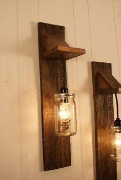 Pair of Mason Jar Chandelier Wall Mount Fixture -- Mason Jar Lighting - Upcycled Wood - Mason jar pendant Mason Jar Light Fixture, Mason Jar Chandelier, Mason Jar Lighting, Mason Jar Lamp, Light Fixtures, Palette Diy, Pallet Crafts, Diy Pallet, Pallet Projects