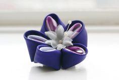 Purple Silk Flower Hair Clip Kanzashi Hair by cuttlefishlove, £18.00