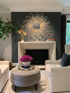Dark Grey Walls Living Room, Grey Living Room With Color, Living Room Paint, Living Room With Fireplace, Living Room Colors, Home Living Room, Living Room Decor, Fireplace Accent Walls, Dark Accent Walls