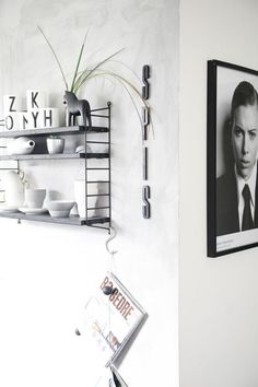 white walls, photography, shelving: