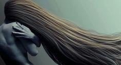 Long windswept hair