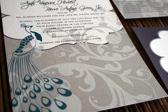 Peacock inspired invitation