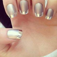 Matte nail polish with metallic french tips #nails #nailart  - bellashoot.com
