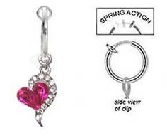 Fake Belly Navel Non Clip on Piercing Pink & Cz Heart Sexy Dangle Ring . $9.00