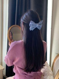 Kawaii Hairstyles, 90s Hairstyles, Vintage Hairstyles, Pretty Hairstyles, Long Braided Hairstyles, Pulled Back Hairstyles, Vintage Hair Bows, Vintage Denim, Scrunchies