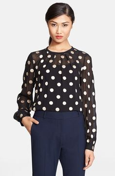 Free shipping and returns on kate spade new york dot embroidered silk top at Nordstrom.com. A scattering of kate spade's hallmark dots are embroidered into a pure silk top shaped by knife pleats.