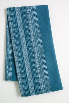 After I decided to use these colors from an earlier design, I realized that I was weaving during the solstice time and the quiet, gray blues echoed. Weaving Designs, Weaving Patterns, Loom Weaving, Hand Weaving, Woven Scarves, String Art, Home Textile, Tea Towels, Dish Towels