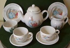 Wedgwood Peter Rabbit Beatrix Potter, Vintage Childrens 10 Piece Tea Set. Original Box. Christening Gift or Collectors Item by Yesterdayshome on Etsy https://www.etsy.com/listing/186632799/wedgwood-peter-rabbit-beatrix-potter
