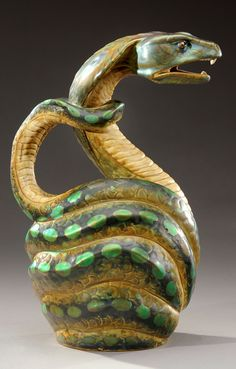 """ZSOLNAY exceptional and rare enamelled ceramic jug known as """"The Serpent"""". Signed with a circular stamp, five """"Zsolnay Pecs"""" churches, numbered and with traces of writing. Circa 1899-1900. H : 11 in   SOLD 24,000 EUR, Paris 2012"""