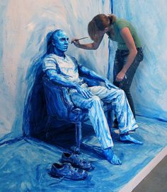 This artist, Alexa Meade paints her models. Literally. Then photographs them.