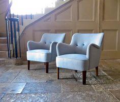 Light Blue Armchairs by Orla Molgaard-Nielsen for Fritz Hansen, 1951, Set of 2 in vendita su Pamono