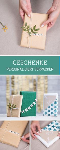 instructions for personalized gift packaging for Christmas, naming gifts / christmas gift wrapping ideas via DaWa . Christmas Humor, Christmas Diy, Present Wrapping, Wrapping Papers, Gift Wrapping Ideas For Birthdays, Birthday Wrapping Ideas, Navidad Diy, Name Gifts, Theme Noel